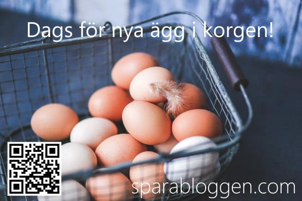Nya ägg i korgen